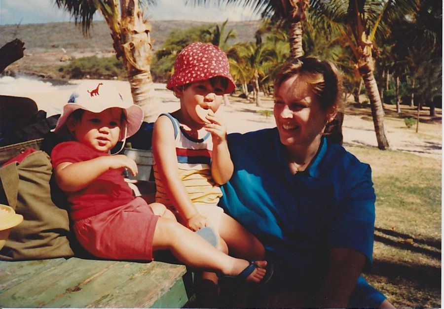 Danni Komatsu with her two oldest sons, Van Michael and Rocky, at Manele Bay on the island of Lanai.